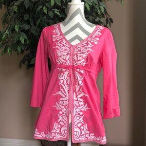 Michael Kors Pink Boho Embroidered Top